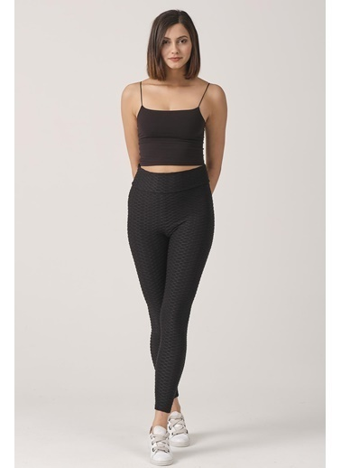 Elif İç Giyim Kadın Yüksek Bel Push Up Brazil Tayt Siyah